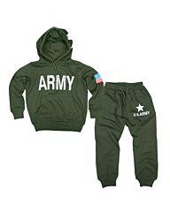 Fostex kinder Army Hoodie set groen