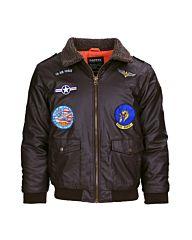 Fostex Kinder Flight Jacket PU Leder bruin