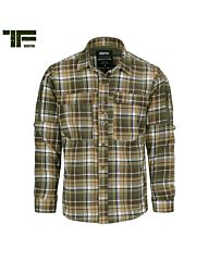 TF-2215 Flanel contractor overhemd bruin/groen