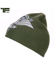 TF-2215 Beanie skull & wings groen