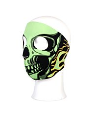 Biker Mask Neoprene full face green flames