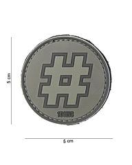 Embleem 3D PVC Hashtag grijs