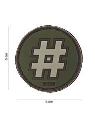 Embleem 3D PVC Hashtag groen