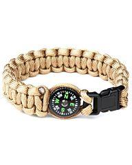 Paracord bracelet Kompas 8inch khaki