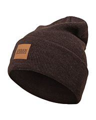 Urban Classics Leatherpatch Long Beanie heatherbrown