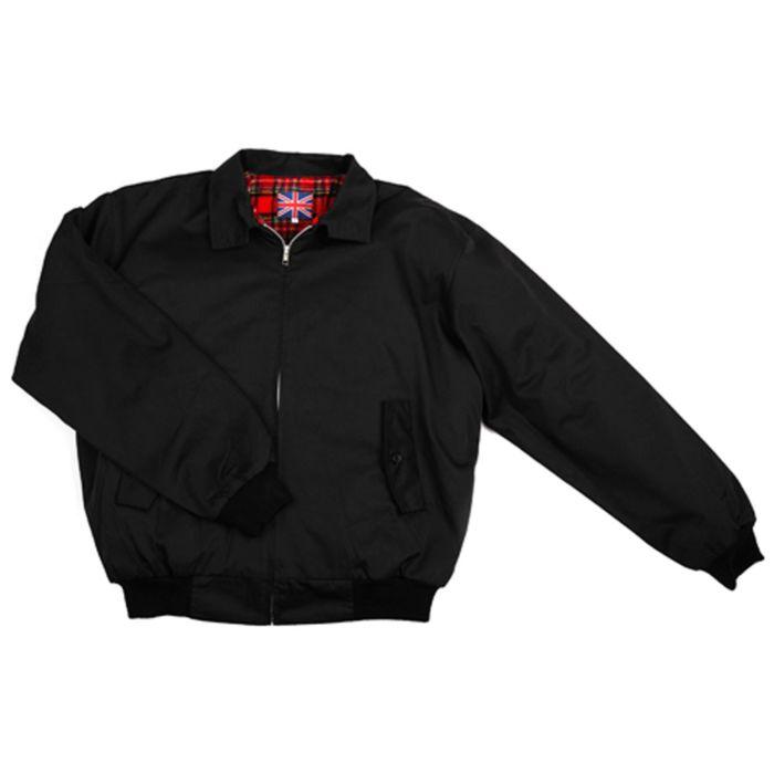 U.K. Harrington Jacket zwart met geruite voering
