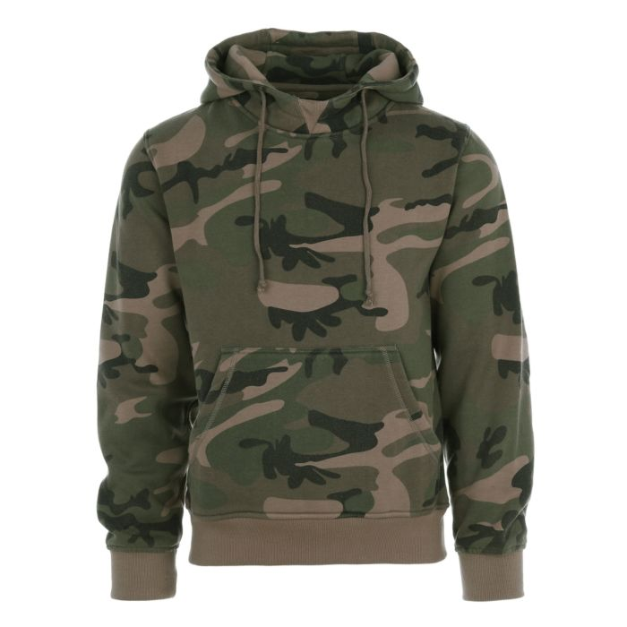 Hooded sweater zonder rits woodland camo