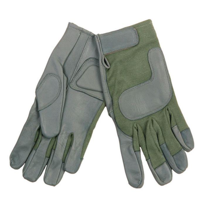 Airsoft handschoenen nomex/leer groen