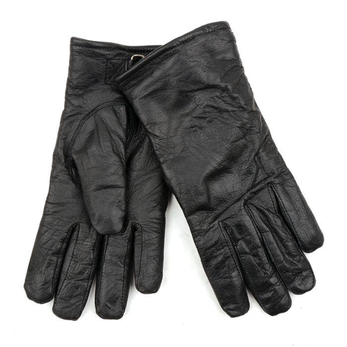 Leren officiers handschoenen zwart
