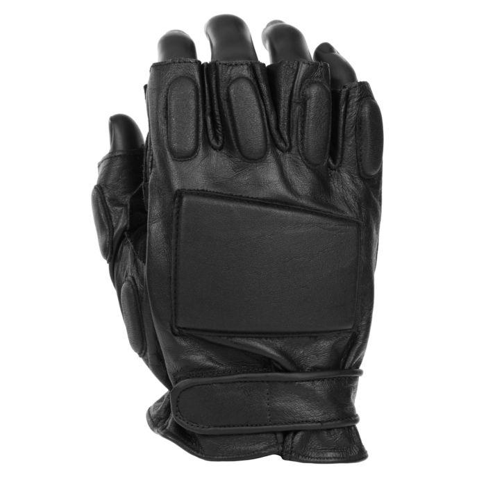Fostex politie handschoen met halve vingers zwart leder