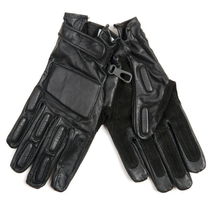 Fostex politie handschoen zwart leder