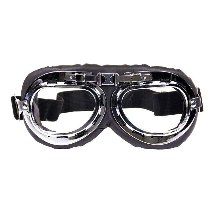 Motor/piloten stofbril zwart/chroom