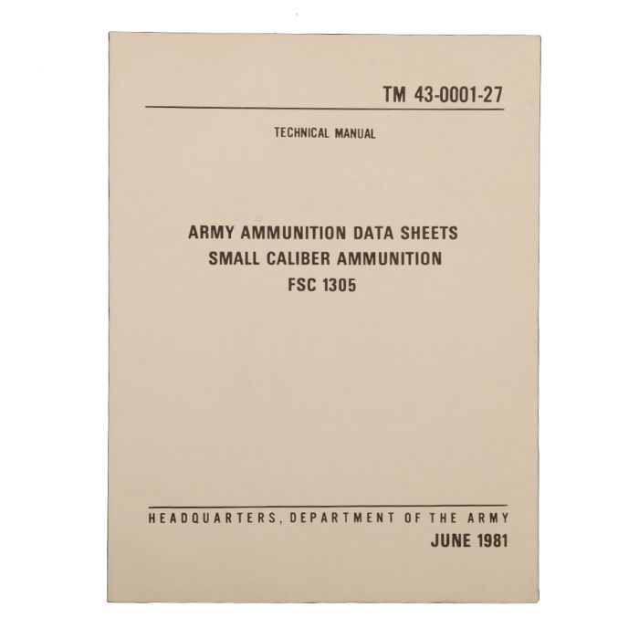 Boek Army amunition data small caliber 06/1981
